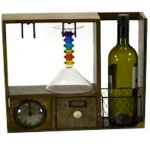 County Kitchen Rustic Wooden Storage Wine Store with a Clock