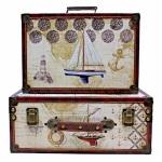 Sailing Boats Set of Two Wooden Storage Suitcases