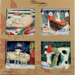 Set of Four Christmas on the Farm Coasters