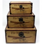 Fly the World Planes Set of Three Wooden Storage Chests