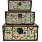 Set of Three Wooden Butterflies Storage Chests