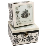Set of Two Lace Bag Square Wooden Storage Boxes