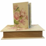 Set of Two Pink Floral Book Small Storage Boxes