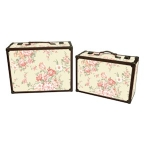 Set of Two Vintage Cream and Pink Floral Wooden Storage Cases