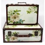 Set of Two Vintage Floral Wooden Storage Cases
