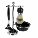 Shaving Set With Shaving Brush, Bowl and Stand in Chrome