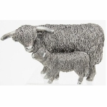 Silver Highland Cow and Calf Ornament