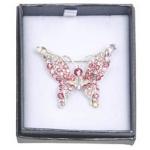 Silver Pink Butterfly Brooch