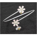 Silver Plated Bees and Pink and Cream Flowers Bangle