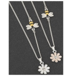 Silver Plated Bee and Pink Flower Necklace