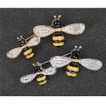 Silver Plated Double Bee Brooch
