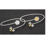 Silver Plated White Flower and Bee Bangle