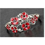 Slim Enamel Poppy and Crystals Stretch Bracelet