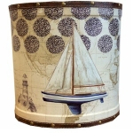 Small Blue Sailing Boat Wooden Oval Waste Bin