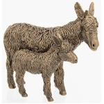 Small Bronze Donkey and Foal Ornament