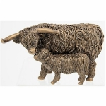 Small Bronze Highland Cow and Calf Ornament