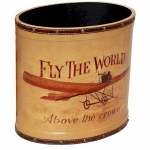 Small Fly the World Wooden Oval Waste Bin