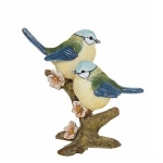 Small Pair of Blue Tit Birds Sitting Close Ornament