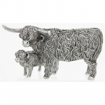 Small Silver Highland Cow and Wee Calf Ornament