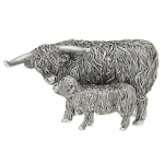 Small Silver Highland Cow and Calf Ornament