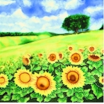 Sunflower Field Square Tile Trivet