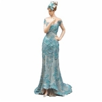 Teal Blue Standing Lady Figurine