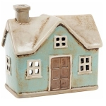 Village Pottery Small Blue Cottage Tealight Holder
