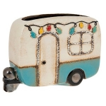 Village Pottery Blue Festival Caravan Plant Pot
