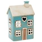 Village Pottery Blue House Heart Tealight Holder