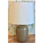 Village at Home Ceramic Grey Barrel Table Lamp