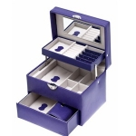 Violet Purple Rectangular Lockable Auto Tray Jewellery Box