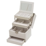 White Four Level Lockable Auto Tray Jewellery Box