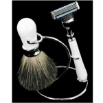 White and Chrome Two Piece Shaving Set