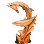 Wood Effect Dolphin and Baby Ornament