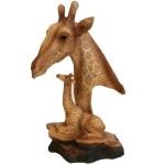Wood Effect Giraffe Head and Baby Ornament
